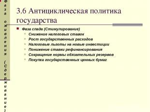 3.6 Антициклическая политика государства Фаза спада (Стимулирование) Снижение на