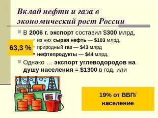 Вклад нефти и газа в экономический рост России В 2006г. экспорт составил $300м