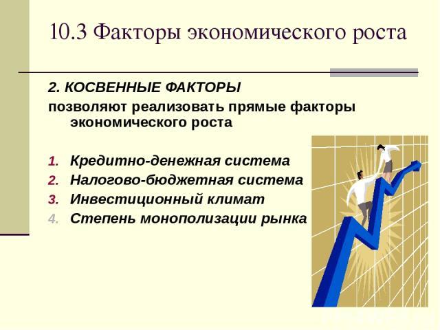 10.3 Факторы экономического роста 2. КОСВЕННЫЕ ФАКТОРЫ позволяют реализовать прямые факторы экономического роста Кредитно-денежная система Налогово-бюджетная система Инвестиционный климат Степень монополизации рынка