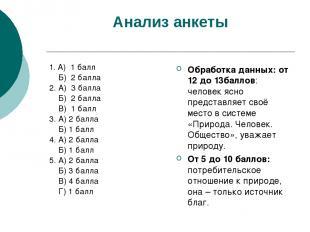 Анализ анкеты 1. А) 1 балл Б) 2 балла 2. А) 3 балла Б) 2 балла В) 1 балл 3. А) 2