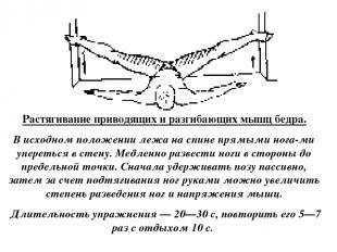 Растягивание приводящих и разгибающих мышц бедра. В исходном положении лежа на с