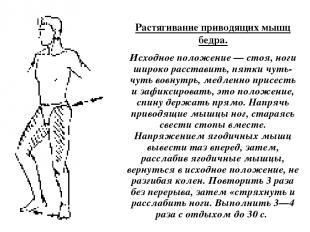 Растягивание приводящих мышц бедра. Исходное положение — стоя, ноги широко рас