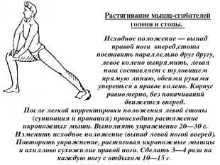Растягивание мышц-сгибателей голени и стопы. Исходное положение — выпад правой н