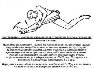Растягивание мышц, разгибающих и отводящих бедро, сгибающих голени и стопы. Исхо