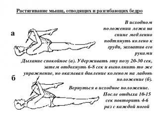 а б Растягивание мышц, отводящих и разгибающих бедро В исходном положении лежа н