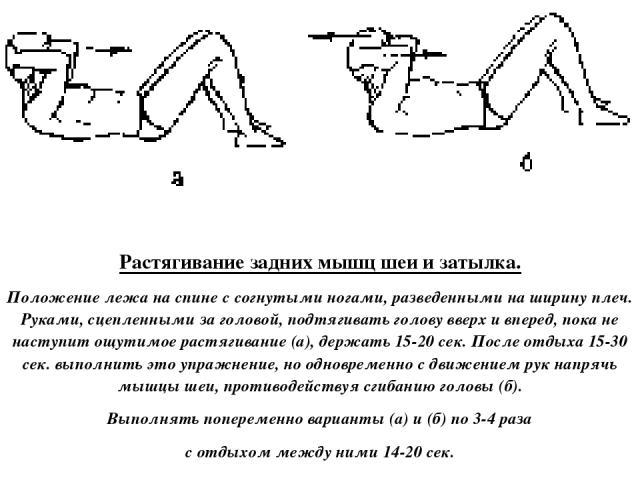 Растягивание задних мышц шеи и затылка. Положение лежа на спине с согнутыми ногами, разведенными на ширину плеч. Руками, сцепленными за головой, подтягивать голову вверх и вперед, пока не наступит ощутимое растягивание (а), держать 15-20 сек. После …