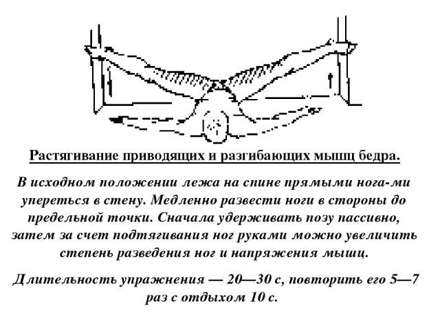 Растягивание приводящих и разгибающих мышц бедра. В исходном положении лежа на спине прямыми нога ми упереться в стену. Медленно развести ноги в стороны до предельной точки. Сначала удерживать позу пассивно, затем за счет подтягивания ног руками мож…
