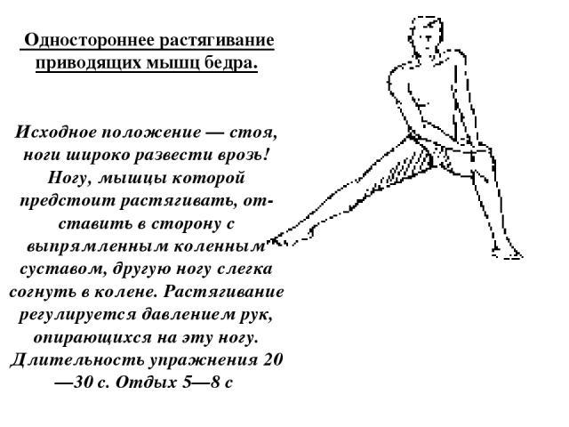 Одностороннее растягивание приводящих мышц бедра. Исходное положение — стоя, ноги широко развести врозь! Ногу, мышцы которой предстоит растягивать, от ставить в сторону с выпрямленным коленным суставом, другую ногу слегка согнуть в колене. Растягив…