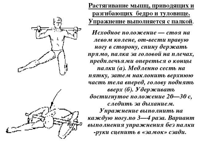 Растягивание мышц, приводящих и разгибающих бедро и туловище. Упражнение выполняется с палкой. Исходное положение — стоя на левом колене, от вести правую ногу в сторону, спину держать прямо, палка за головой на плечах, предплечьями опереться о концы…