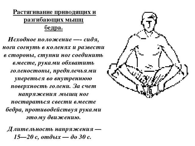 Растягивание приводящих и разгибающих мышц бедра. Исходное положение —- сидя, ноги согнуть в коленях и развести в стороны, ступни ног соединить вместе, руками обхватить голеностопы, предплечьями упереться во внутреннюю поверхность голени. За счет н…