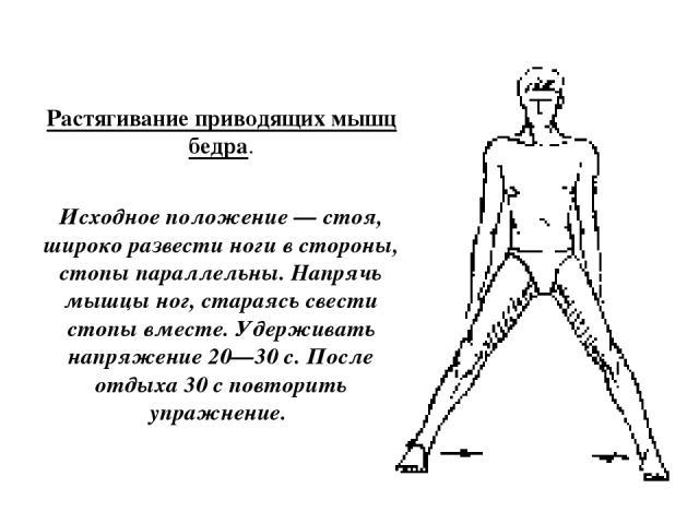 Растягивание приводящих мышц бедра. Исходное положение — стоя, широко развести ноги в стороны, стопы параллельны. Напрячь мышцы ног, стараясь свести стопы вместе. Удерживать напряжение 20—30 с. После отдыха 30 с повторить упражнение.