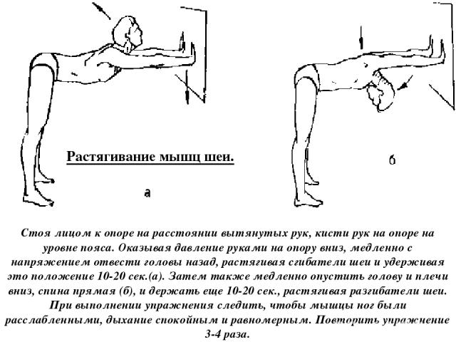 Растягивание мышц шеи. Стоя лицом к опоре на расстоянии вытянутых рук, кисти рук на опоре на уровне пояса. Оказывая давление руками на опору вниз, медленно с напряжением отвести головы назад, растягивая сгибатели шеи и удерживая это положение 10-20 …