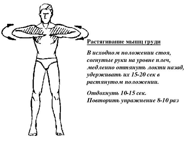 Растягивание мышц груди В исходном положении стоя, согнутые руки на уровне плеч, медленно оттянуть локти назад, удерживать их 15-20 сек в растянутом положении. Отдохнуть 10-15 сек. Повторить упражнение 8-10 раз
