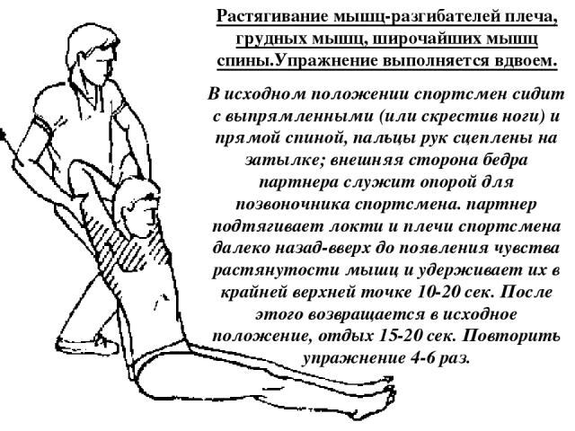 Растягивание мышц-разгибателей плеча, грудных мышц, широчайших мышц спины.Упражнение выполняется вдвоем. В исходном положении спортсмен сидит с выпрямленными (или скрестив ноги) и прямой спиной, пальцы рук сцеплены на затылке; внешняя сторона бедра …