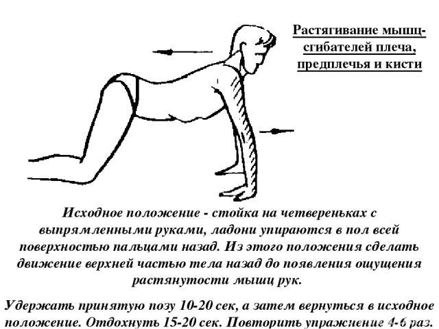 Растягивание мышц-сгибателей плеча, предплечья и кисти Исходное положение - стойка на четвереньках с выпрямленными руками, ладони упираются в пол всей поверхностью пальцами назад. Из этого положения сделать движение верхней частью тела назад до появ…