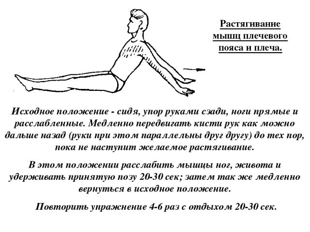 Растягивание мышц плечевого пояса и плеча. Исходное положение - сидя, упор руками сзади, ноги прямые и расслабленные. Медленно передвигать кисти рук как можно дальше назад (руки при этом параллельны друг другу) до тех пор, пока не наступит желаемое …