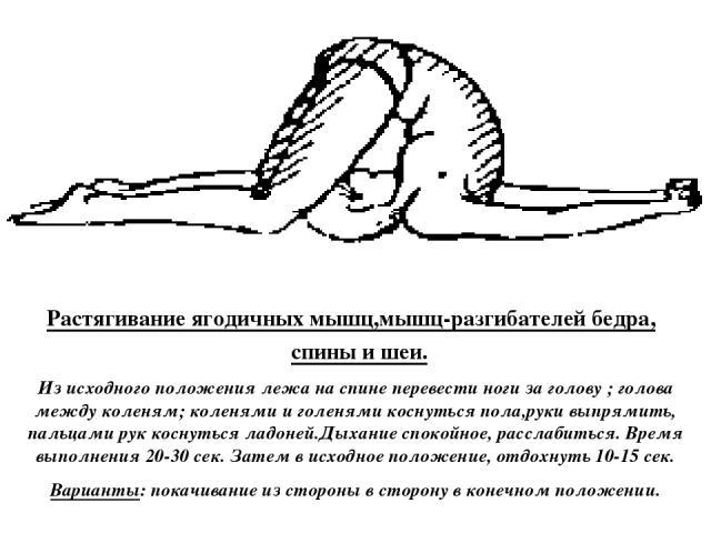Растягивание ягодичных мышц,мышц-разгибателей бедра, спины и шеи. Из исходного положения лежа на спине перевести ноги за голову ; голова между коленям; коленями и голенями коснуться пола,руки выпрямить, пальцами рук коснуться ладоней.Дыхание спокойн…
