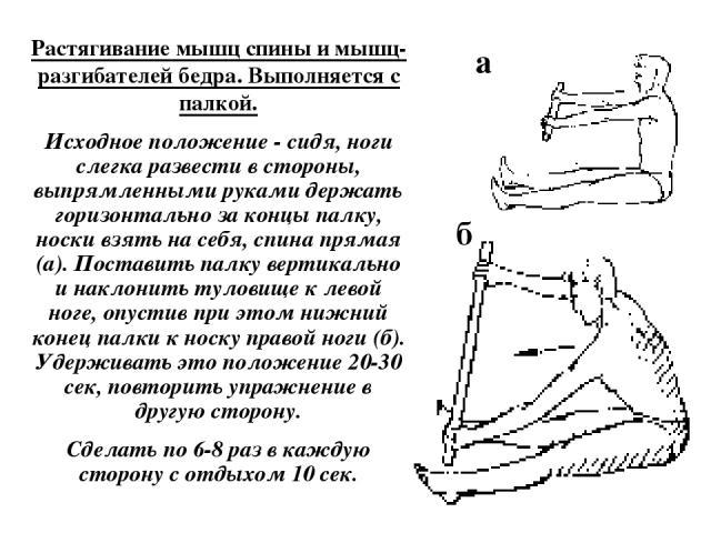 Растягивание мышц спины и мышц-разгибателей бедра. Выполняется с палкой. Исходное положение - сидя, ноги слегка развести в стороны, выпрямленными руками держать горизонтально за концы палку, носки взять на себя, спина прямая (а). Поставить палку вер…