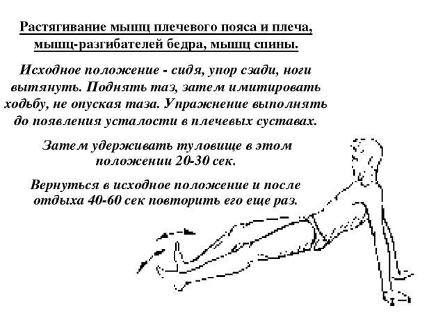 Растягивание мышц плечевого пояса и плеча, мышц-разгибателей бедра, мышц спины. Исходное положение - сидя, упор сзади, ноги вытянуть. Поднять таз, затем имитировать ходьбу, не опуская таза. Упражнение выполнять до появления усталости в плечевых суст…