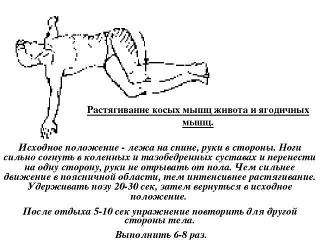 Растягивание косых мышц живота и ягодичных мышц. Исходное положение - лежа на спине, руки в стороны. Ноги сильно согнуть в коленных и тазобедренных суставах и перенести на одну сторону, руки не отрывать от пола. Чем сильнее движение в поясничной обл…