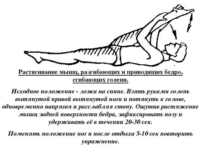 Растягивание мышц, разгибающих и приводящих бедро, сгибающих голени. Исходное положение - лежа на спине. Взять руками голень вытянутой правой вытянутой ноги и потянуть к голове, одновременно напрягая и расслабляя стопу. Ощутив растяжение мышц задней…