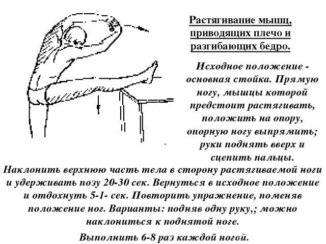 Растягивание мышц, приводящих плечо и разгибающих бедро. Исходное положение - основная стойка. Прямую ногу, мышцы которой предстоит растягивать, положить на опору, опорную ногу выпрямить; руки поднять вверх и сцепить пальцы. Наклонить верхнюю часть …
