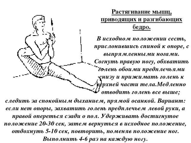 Растягивание мышц, приводящих и разгибающих бедро. В исходном положении сесть, прислонившись спиной к опоре, с выпрямленными ногами. Согнуть правую ногу, обхватить голень обоими предплечьями снизу и прижимать голень к верхней части тела.Медленно отв…