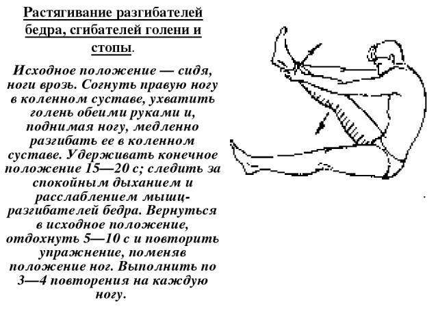 Растягивание разгибателей бедра, сгибателей голени и стопы. Исходное положение — сидя, ноги врозь. Согнуть правую ногу в коленном суставе, ухватить голень обеими руками и, поднимая ногу, медленно разгибать ее в коленном суставе. Удерживать конечное …