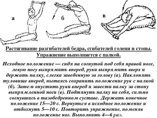 Растягивание разгибателей бедра, сгибателей голени и стопы. Упражнение выполняется с палкой. Исходное положение — сидя на согнутой под себя правой ноге, левую ногу выпрямить вперед, руки выпрямить вверх и держать палку, слегка заведенную за голову (…