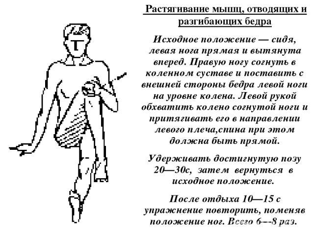 Растягивание мышц, отводящих и разгибающих бедра Исходное положение — сидя, левая нога прямая и вытянута вперед. Правую ногу согнуть в коленном суставе и поставить с внешней стороны бедра левой ноги на уровне колена. Левой рукой обхватить колено со…
