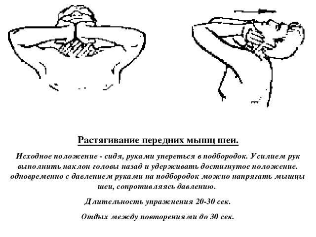 Растягивание передних мышц шеи. Исходное положение - сидя, руками упереться в подбородок. Усилием рук выполнить наклон головы назад и удерживать достигнутое положение. одновременно с давлением руками на подбородок можно напрягать мышцы шеи, сопротив…