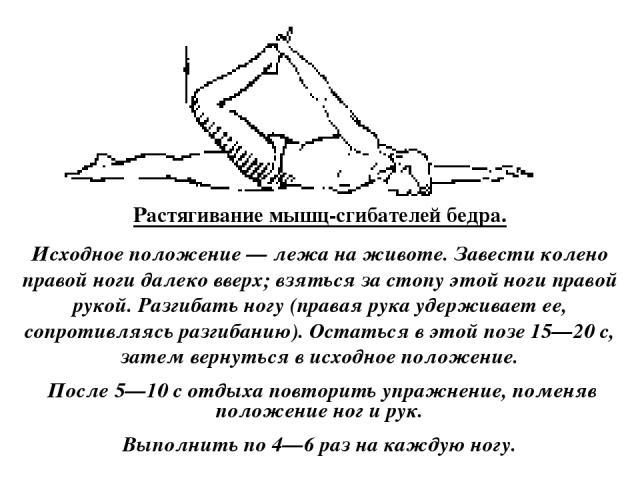 Растягивание мышц-сгибателей бедра. Исходное положение — лежа на животе. Завести колено правой ноги далеко вверх; взяться за стопу этой ноги правой рукой. Разгибать ногу (правая рука удерживает ее, сопротивляясь разгибанию). Остаться в этой позе 15—…