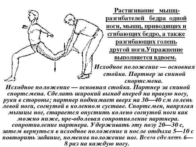 Растягивание мышц-разгибателей бедра одной ноги, мышц, приводящих и сгибающих бедро, а также разгибающих голень другой ноги.Упражнение выполняется вдвоем. Исходное положение — основная стойка. Партнер за спиной спортсмена. Исходное положение — осно…