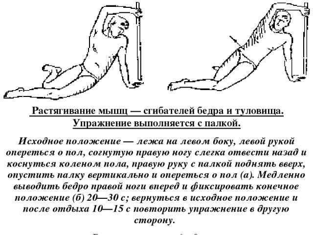 Растягивание мышц — сгибателей бедра и туловища. Упражнение выполняется с палкой. Исходное положение — лежа на левом боку, левой рукой опереться о пол, согнутую правую ногу слегка отвести назад и коснуться коленом пола, правую руку с палкой поднять…