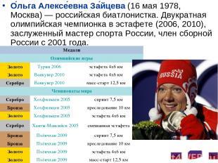 О льга Алексе евна За йцева (16 мая 1978, Москва)— российская биатлонистка. Дву