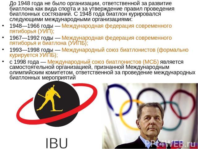 До 1948 года не было организации, ответственной за развитие биатлона как вида спорта и за утверждение правил проведения биатлонных состязаний. С 1948 года биатлон курировался следующими международными организациями: 1948—1966 годы— Международная фе…