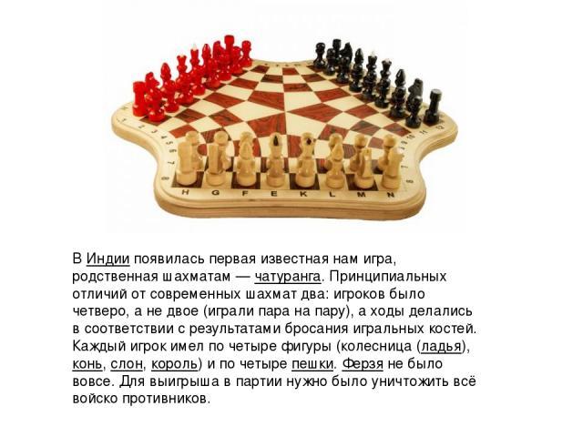 В Индиипоявилась первая известная нам игра, родственная шахматам—чатуранга. Принципиальных отличий от современных шахмат два: игроков было четверо, а не двое (играли пара на пару), а ходы делались в соответствии с результатами бросания игральных …