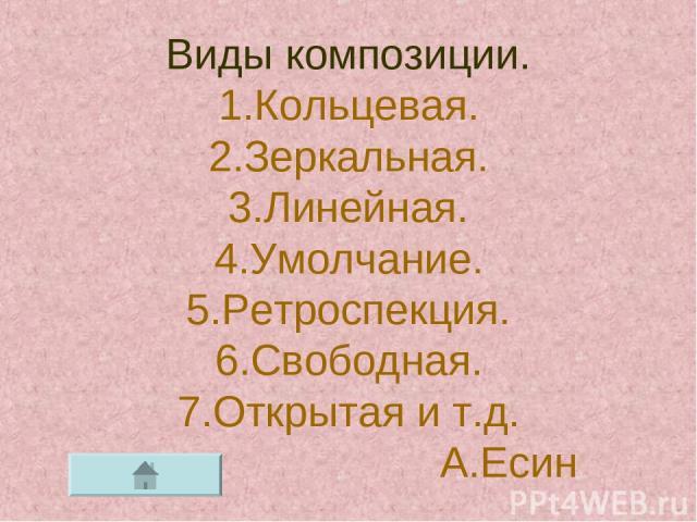 Виды композиции. 1.Кольцевая. 2.Зеркальная. 3.Линейная. 4.Умолчание. 5.Ретроспекция. 6.Свободная. 7.Открытая и т.д. А.Есин