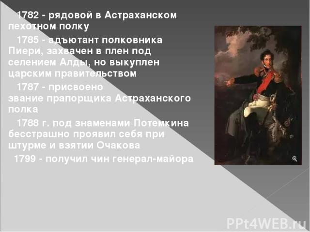 1782 - рядовой в Астраханском пехотном полку 1785 - адъютант полковника Пиери, захвачен в плен под селением Алды, но выкуплен царским правительством 1787 - присвоено званиепрапорщикаАстраханского полка 1788 г. под знаменами Потемкина бесстрашно пр…