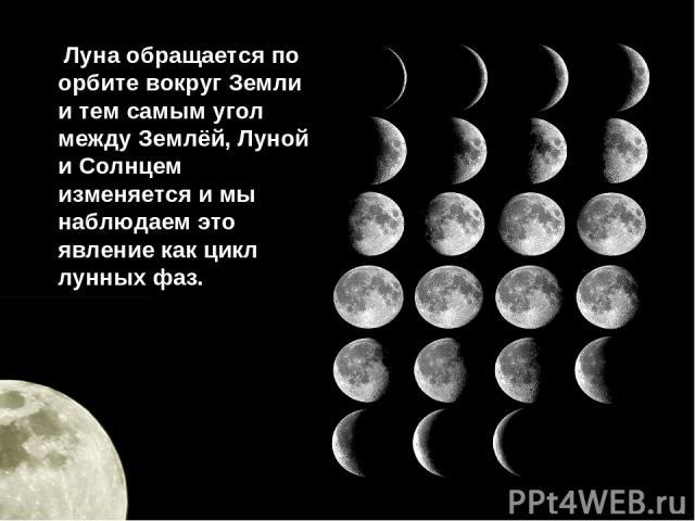 Луна обращается по орбите вокруг Земли и тем самым угол между Землёй, Луной и Солнцем изменяется и мы наблюдаем это явление как цикл лунных фаз.