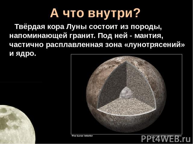 А что внутри? Твёрдая кора Луны состоит из породы, напоминающей гранит. Под ней - мантия, частично расплавленная зона «лунотрясений» и ядро.