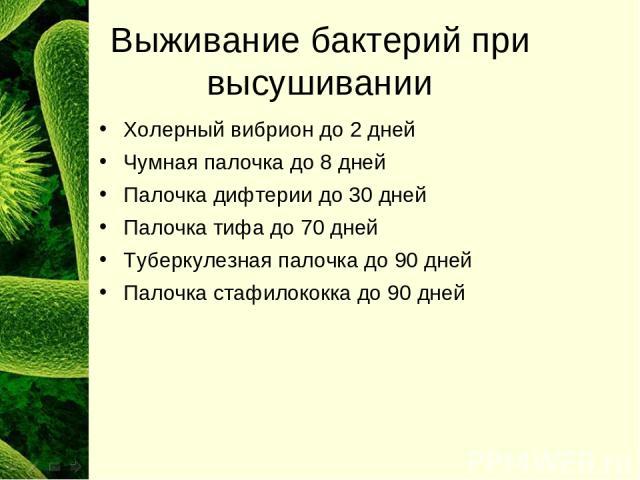 Выживание бактерий при высушивании Холерный вибрион до 2 дней Чумная палочка до 8 дней Палочка дифтерии до 30 дней Палочка тифа до 70 дней Туберкулезная палочка до 90 дней Палочка стафилококка до 90 дней
