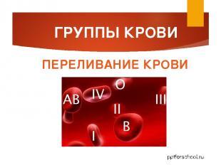 ГРУППЫ КРОВИ ПЕРЕЛИВАНИЕ КРОВИ pptforschool.ru
