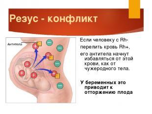 Резус - конфликт Если человеку с Rh- перелить кровь Rh+, его антитела начнут изб
