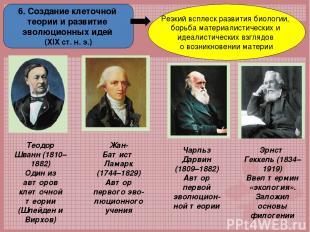 6. Создание клеточной теории и развитие эволюционных идей (ХІХ ст. н. э.) Резкий
