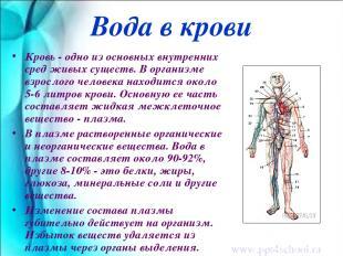 Вода в крови Кровь - одно из основных внутренних сред живых существ. В организме