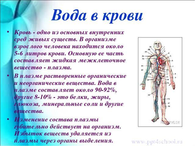 Вода в крови Кровь - одно из основных внутренних сред живых существ. В организме взрослого человека находится около 5-6 литров крови. Основную ее часть составляет жидкая межклеточное вещество - плазма. В плазме растворенные органические и неорганиче…