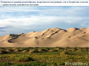 Поверхность равнин разнообразна, встречаются как ровные, так и бугристые участки