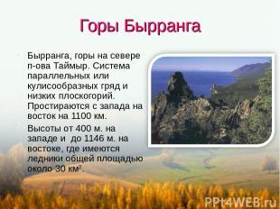 Горы Бырранга Бырранга, горы на севере п-ова Таймыр. Система параллельных или ку