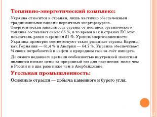 Топливно-энергетический комплекс: Украина относится к странам, лишь частично обе